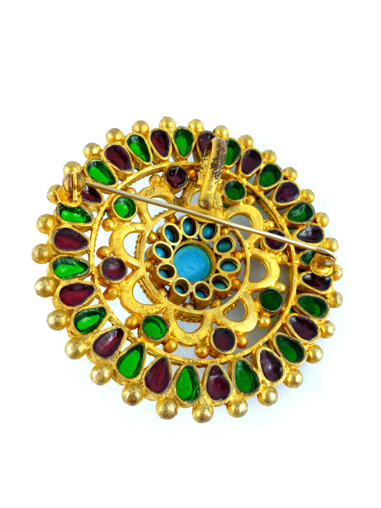 Chanel Massive Gripoix Mughal Brooch Pendant Fall 1993 For Sale 1