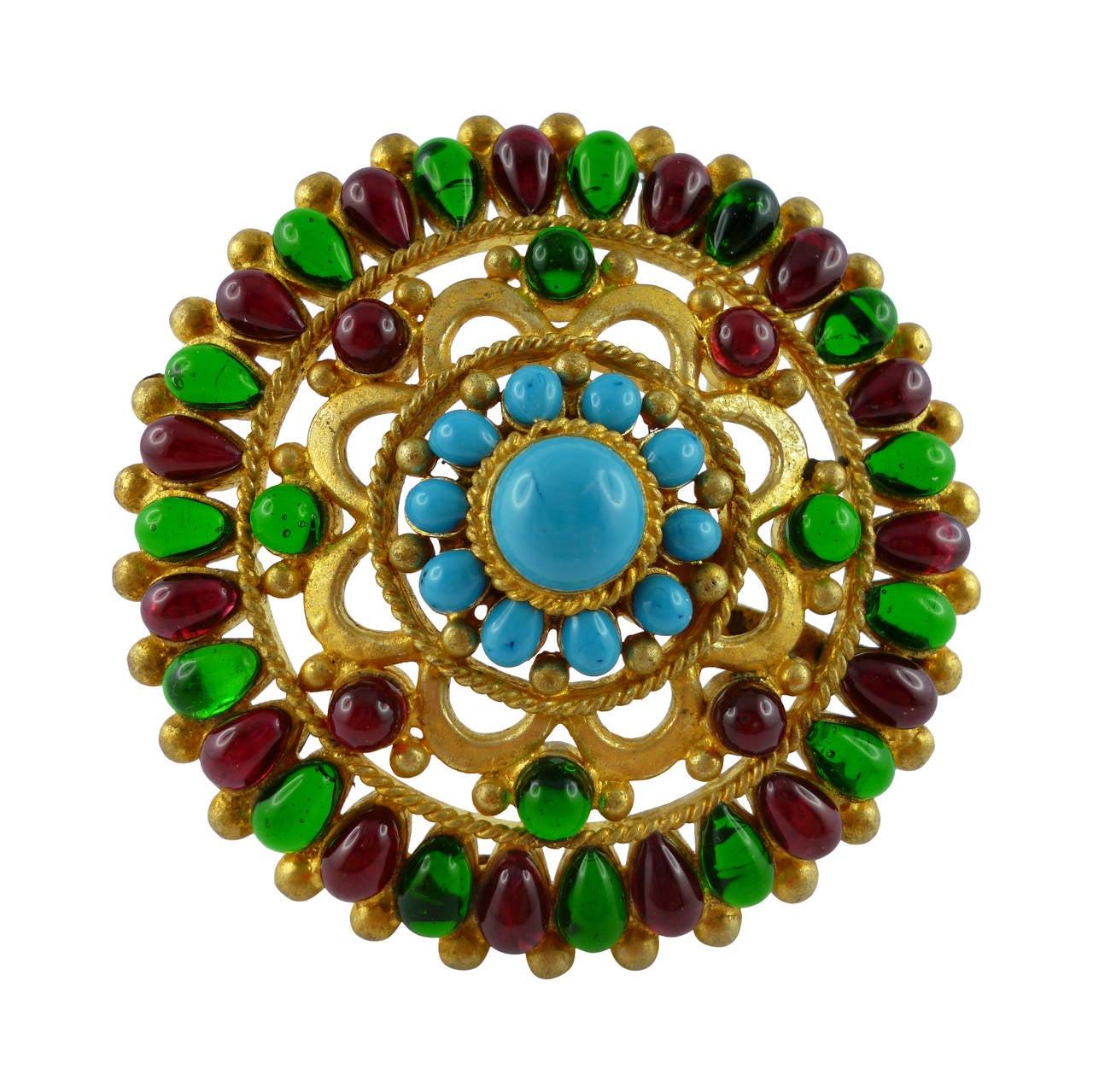 Chanel Massive Gripoix Mughal Brooch Pendant Fall 1993 For Sale