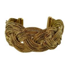 Chanel Gold Tone Braided Cuff Bracelet
