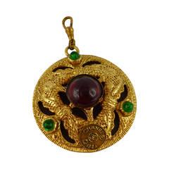 1984 Chanel Rare Gripoix Mirrored Pendant