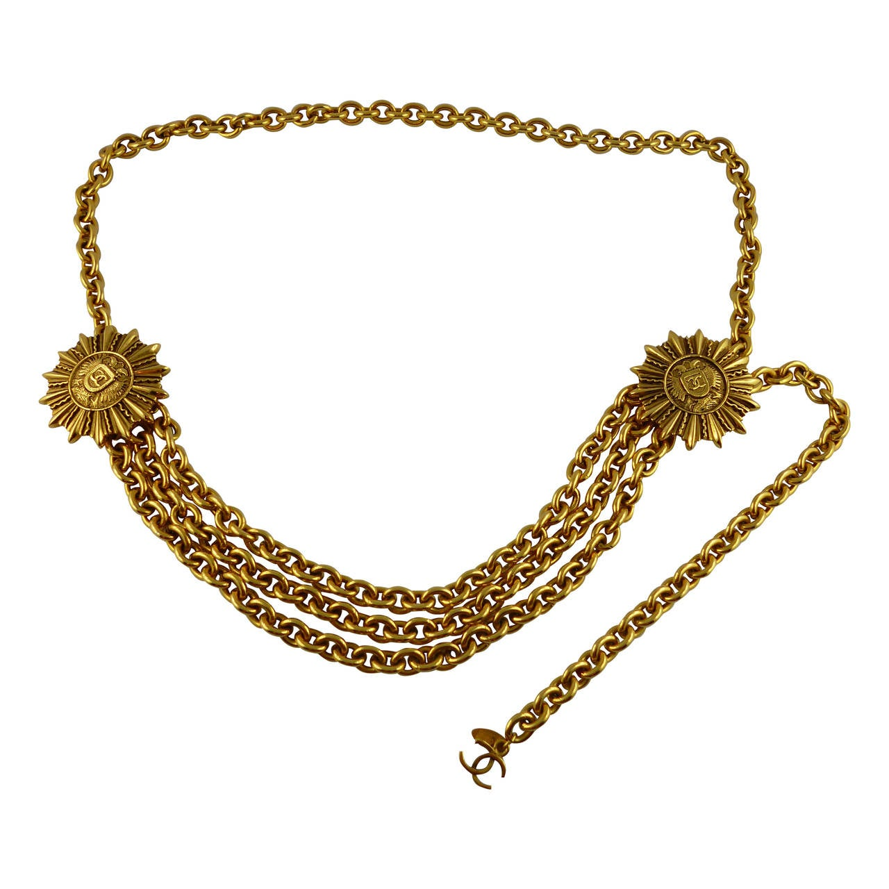 Chanel Vintage Double-Headed Eagle Insigna Belt Necklace For Sale