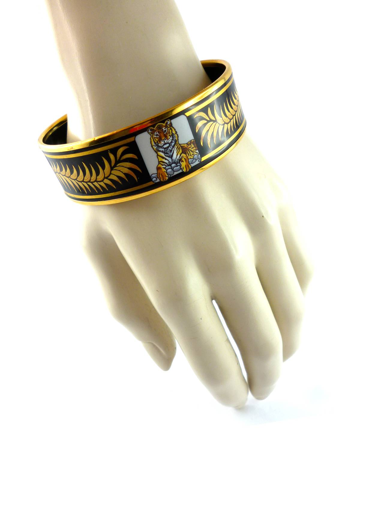Hermes Rare Tigre Royal Enamel Wide Bracelet At 1stdibs