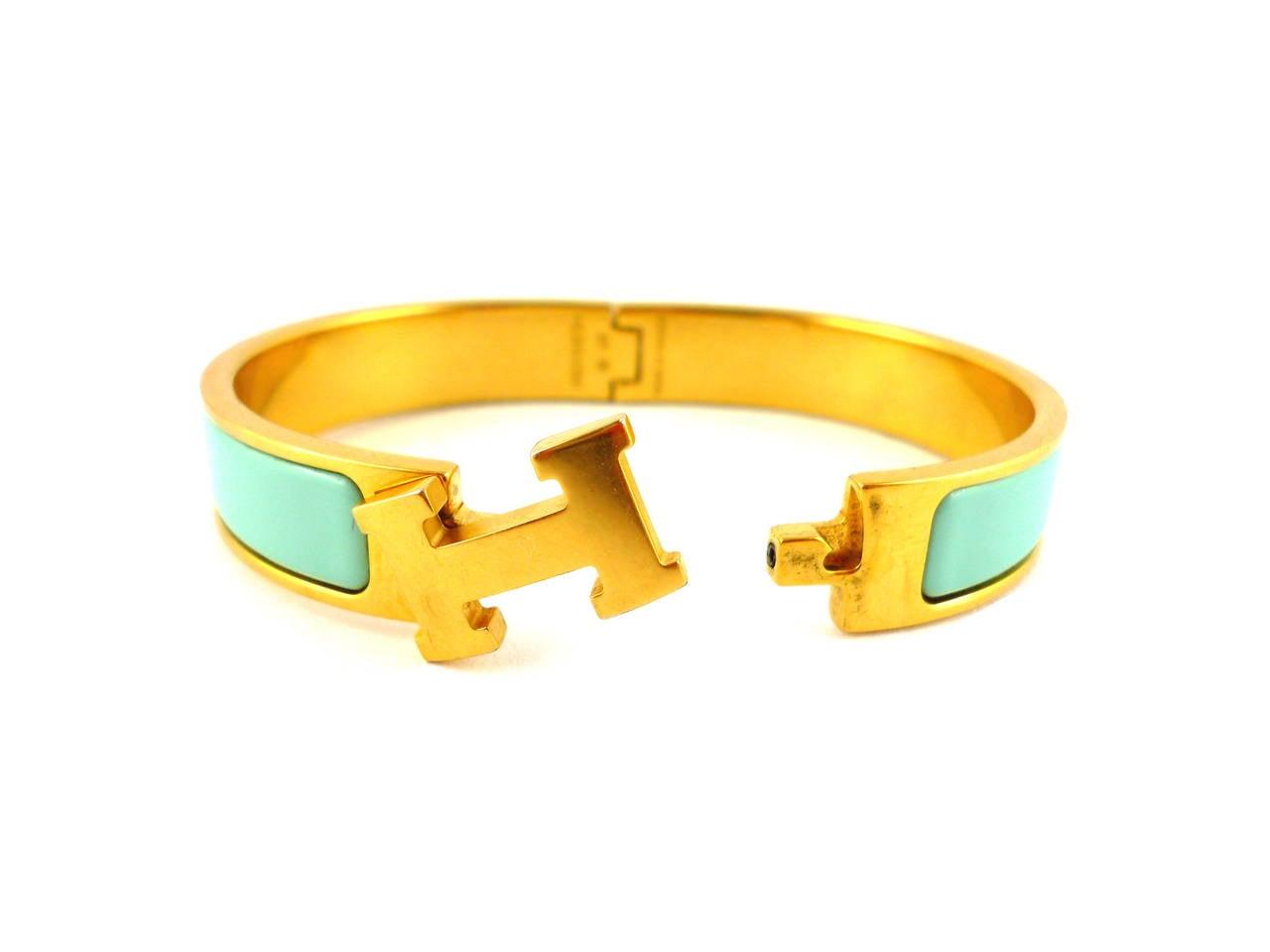 hermes lagoon blue clic clac h enamel bracelet narrow at. Black Bedroom Furniture Sets. Home Design Ideas