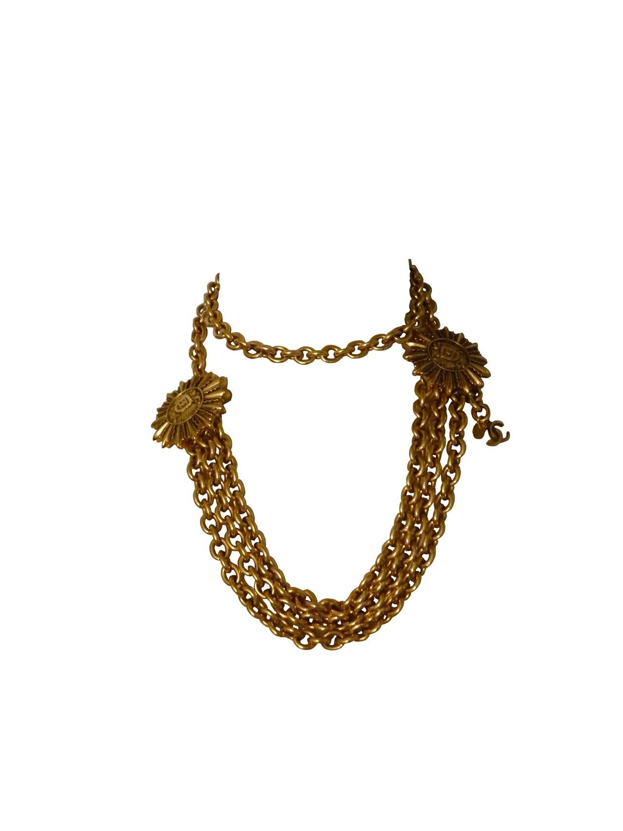 Brown Chanel Vintage Double-Headed Eagle Insigna Belt Necklace For Sale