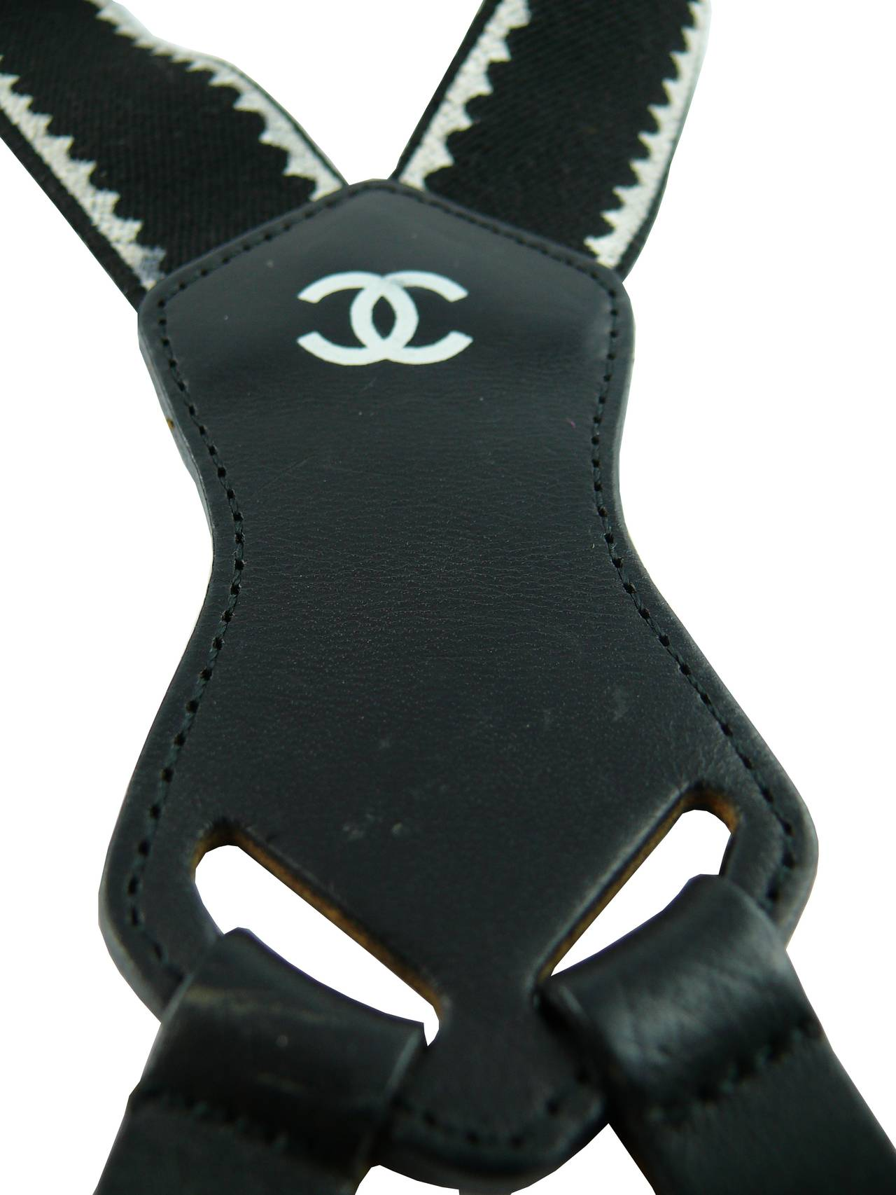 Chanel Vintage Iconic Rare Black and White Suspenders 8