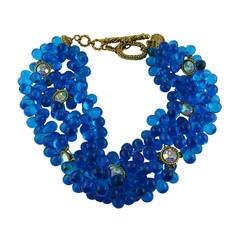 Claire Deve Vintage Opulent Gripoix Aqua Blue Necklace