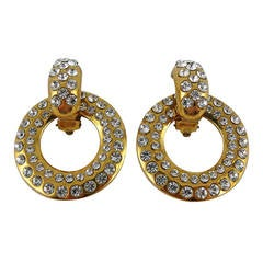 Chanel Vintage 1980s 2-way Diamante Gold Toned Door Knocker Earrings