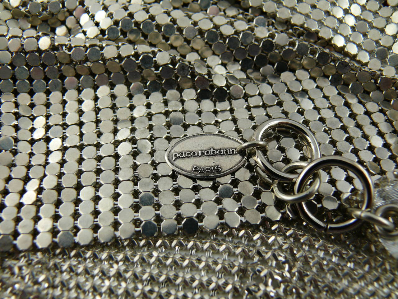 Paco Rabanne Chainmail Halter Top with Resin Bead Chevron Breast Detail 10