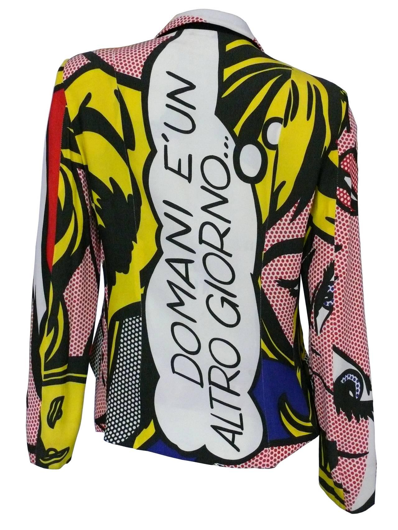 Moschino Rare Spring/Summer 1991 Pop Art Roy Lichtenstein Blazer For Sale 1