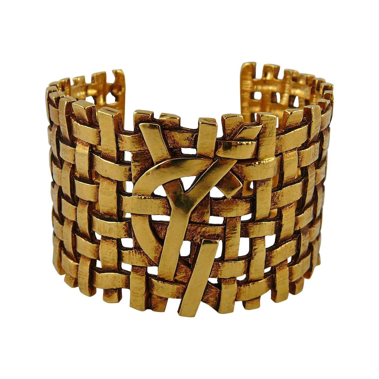 Yves Saint Laurent YSL Vintage Woven Cuff Bracelet 1