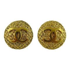 Chanel Vintage CC Monogram Woven Textured Clip On Earrings
