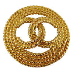 Chanel Vintage Gold Toned Braided Rope-Like CC Logo Brooch, 1993