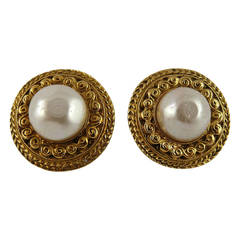 Chanel Vintage Classic Faux Pearl Clip-On Earrings
