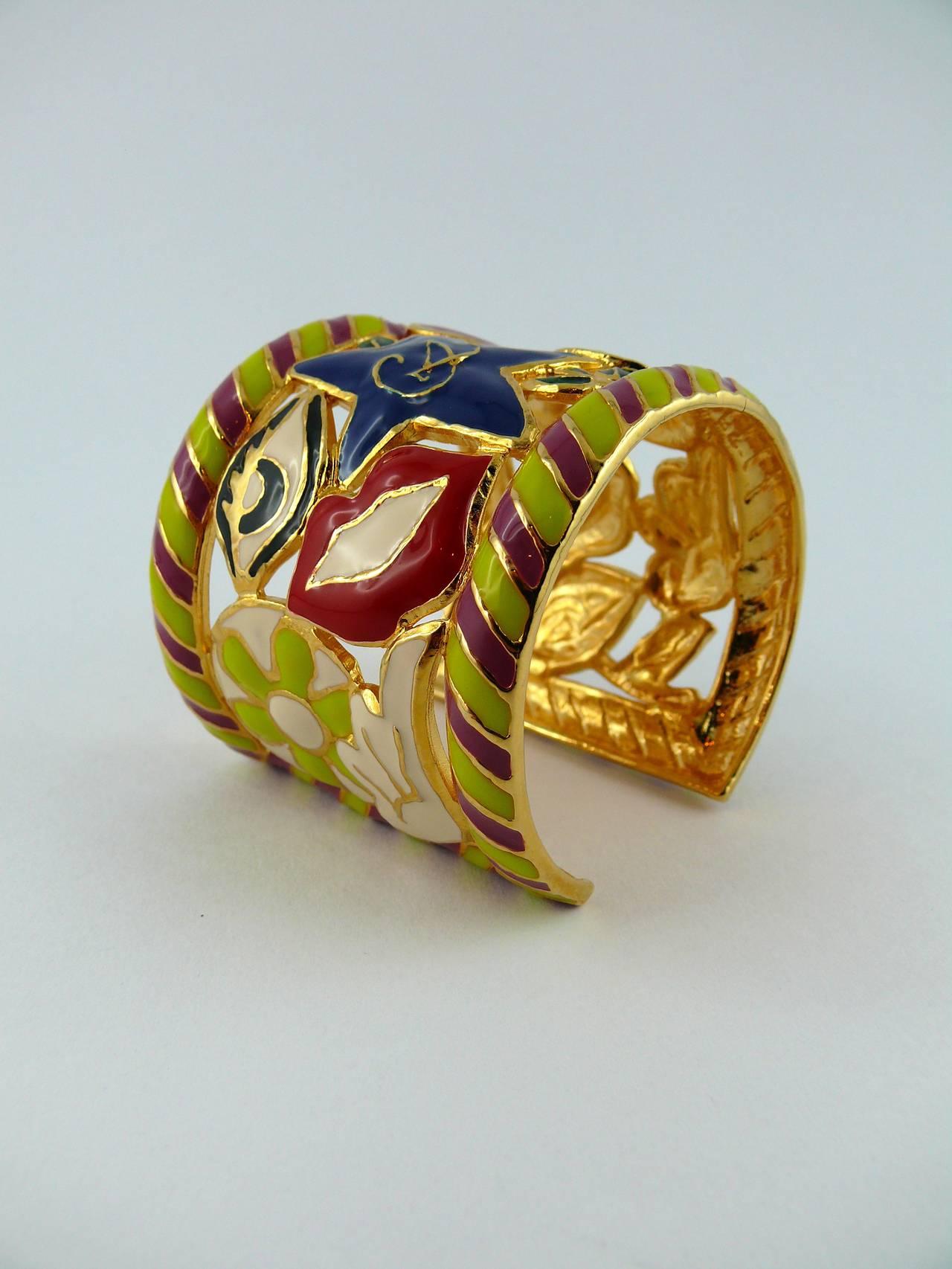 christian lacroix vintage rare surrealist enamel cuff bracelet at 1stdibs. Black Bedroom Furniture Sets. Home Design Ideas