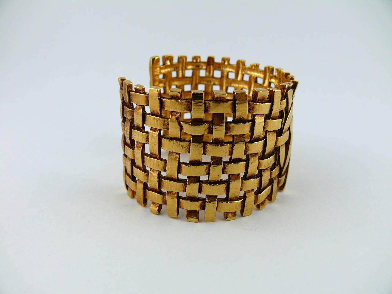 Yves Saint Laurent YSL Vintage Woven Cuff Bracelet 4