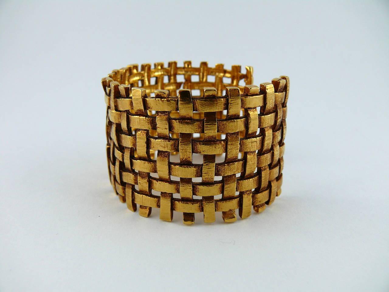 Yves Saint Laurent YSL Vintage Gold Toned Woven Cuff Bracelet For Sale 1