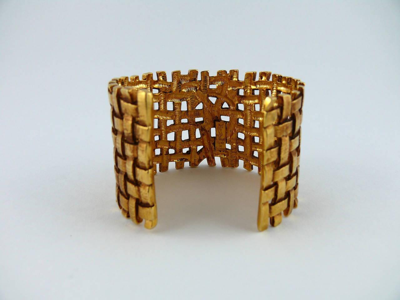 Yves Saint Laurent YSL Vintage Gold Toned Woven Cuff Bracelet For Sale 2