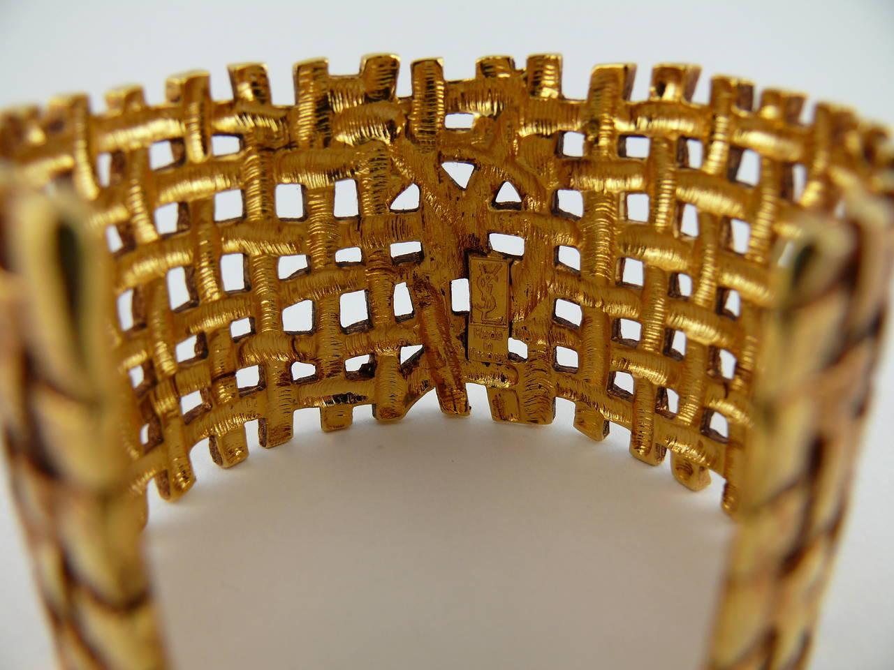 Yves Saint Laurent YSL Vintage Woven Cuff Bracelet 7