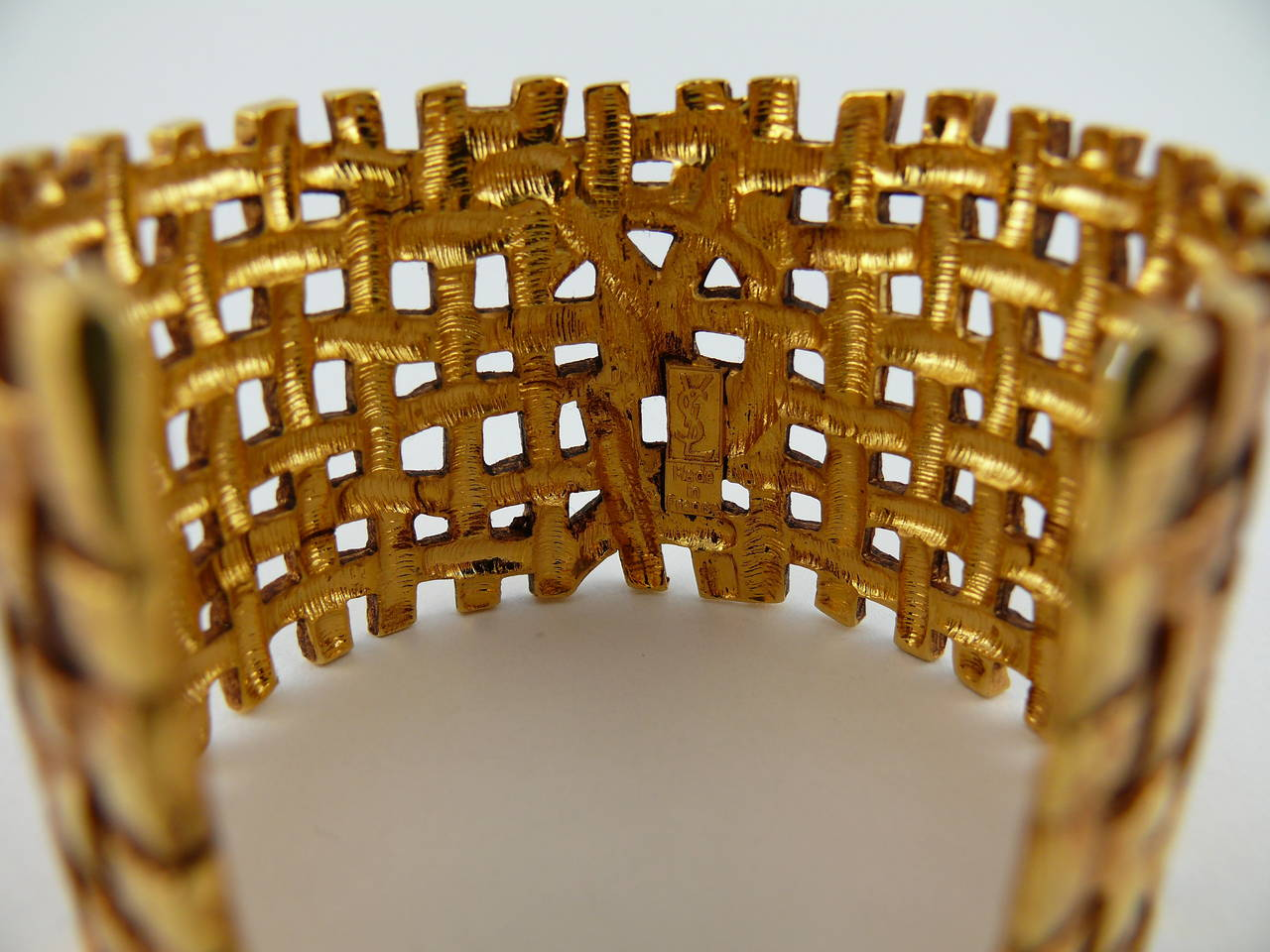 Yves Saint Laurent YSL Vintage Gold Toned Woven Cuff Bracelet For Sale 3