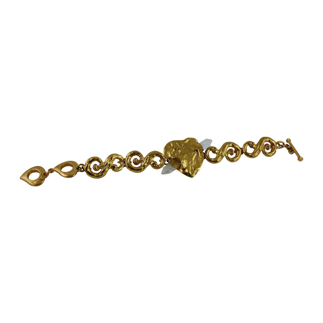 Yves saint laurent ysl vintage goossens gold heart and rock crystal prism bracelet for sale at - Bracelet yves saint laurent ...