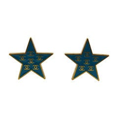 Chanel Enamel Star Clip-On Earrings, Spring 2001