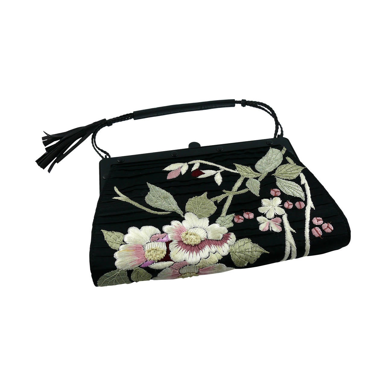 Gucci by Tom Ford Rare Embroidered Japanese Flower Style Silk Handbag 1