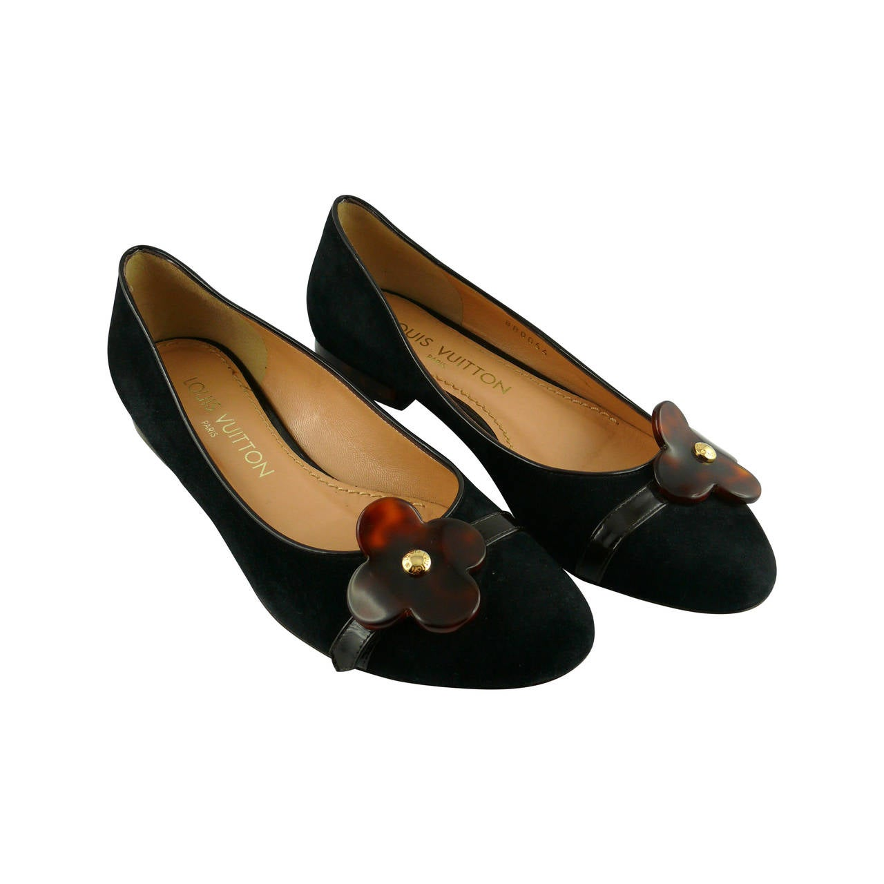 Louis Vuitton Black Suede and Resin Flower Ballet Flat IT 34 1/2 - US 5 1/2