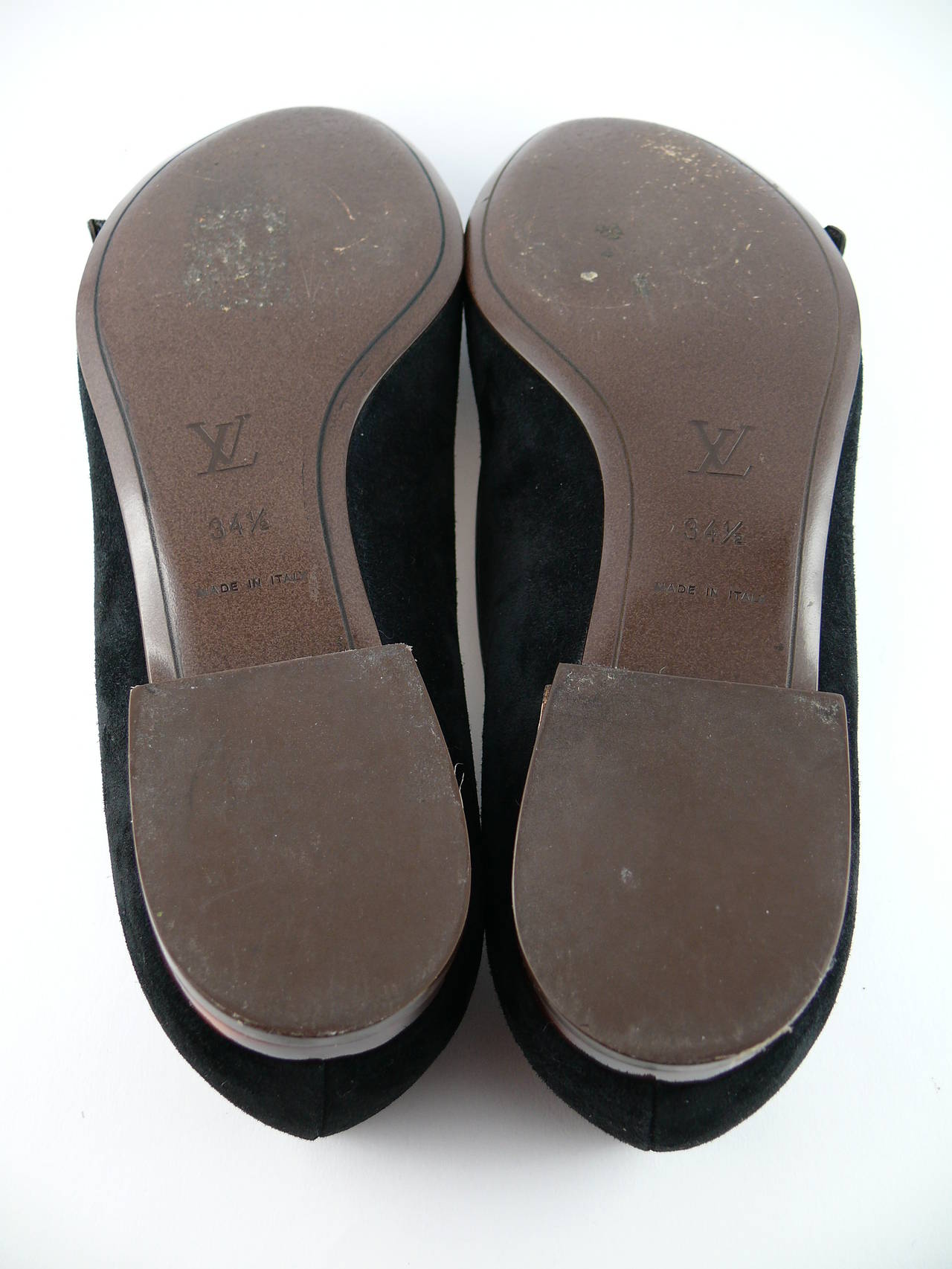 Louis Vuitton Black Suede and Resin Flower Ballet Flat IT 34 1/2 - US 5 1/2 For Sale 4