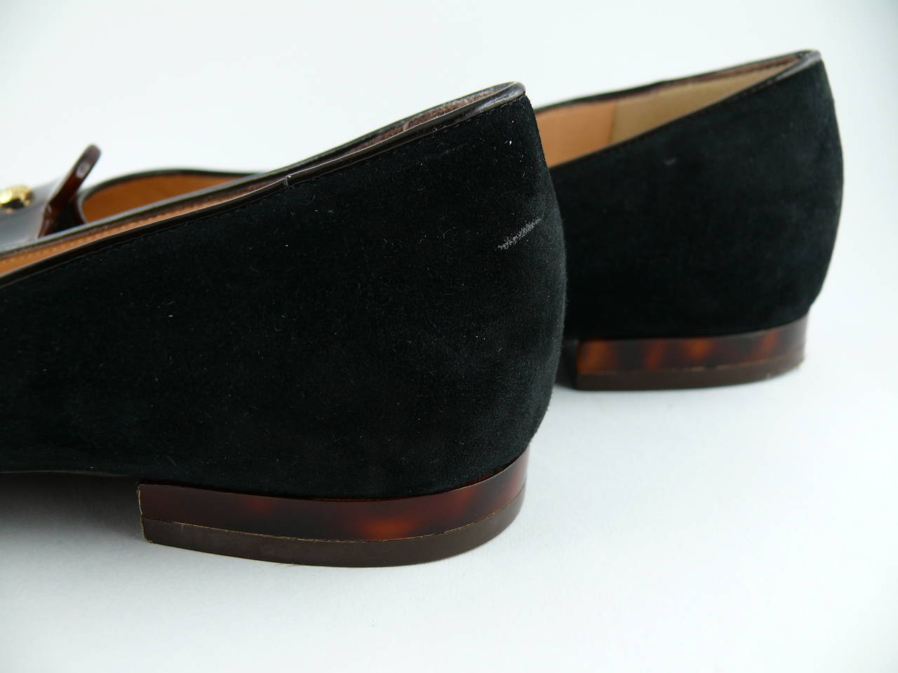 Louis Vuitton Black Suede and Resin Flower Ballet Flat IT 34 1/2 - US 5 1/2 For Sale 2