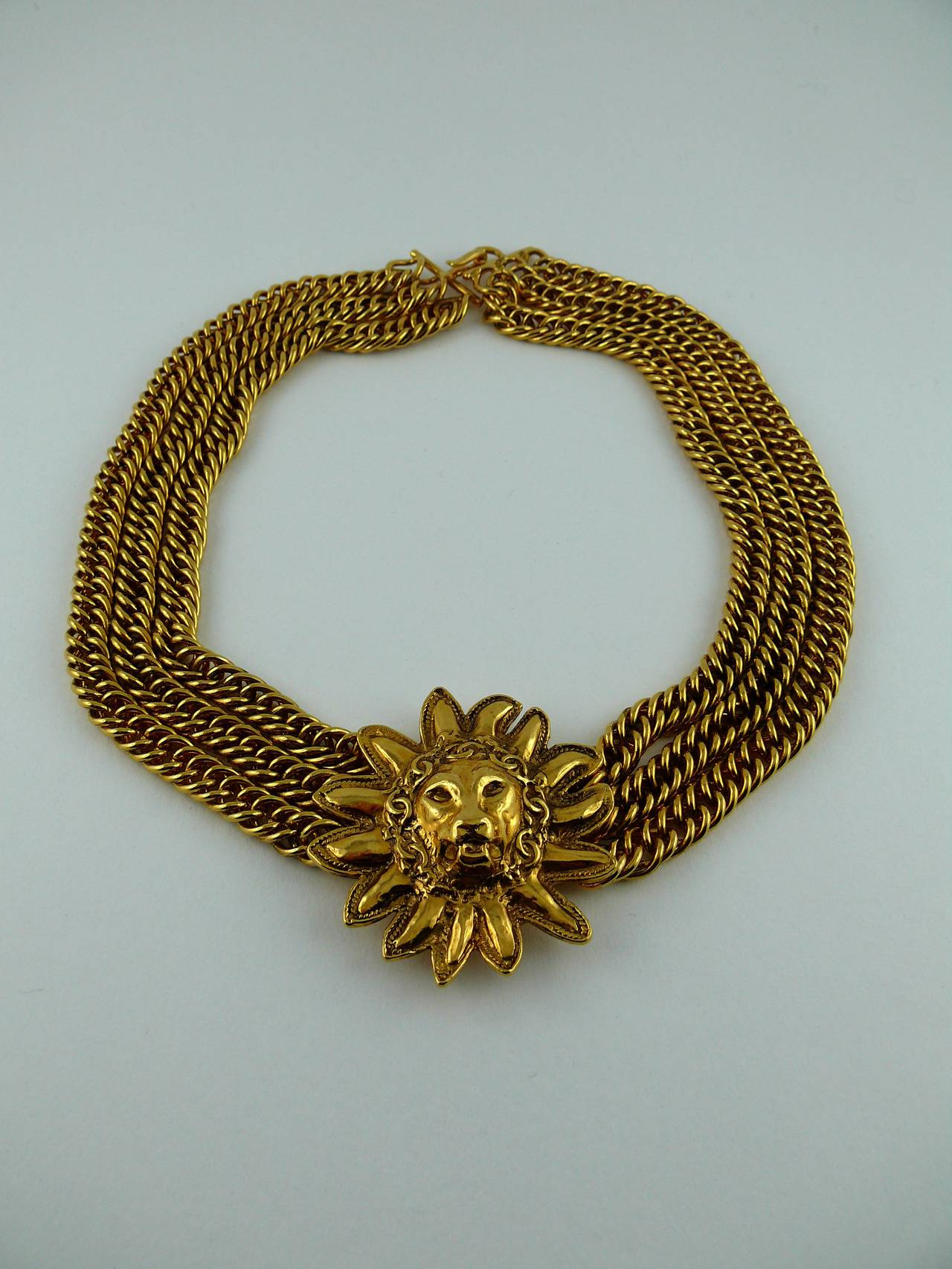 Chanel Vintage Gold Plated Leo Choker Necklace 2