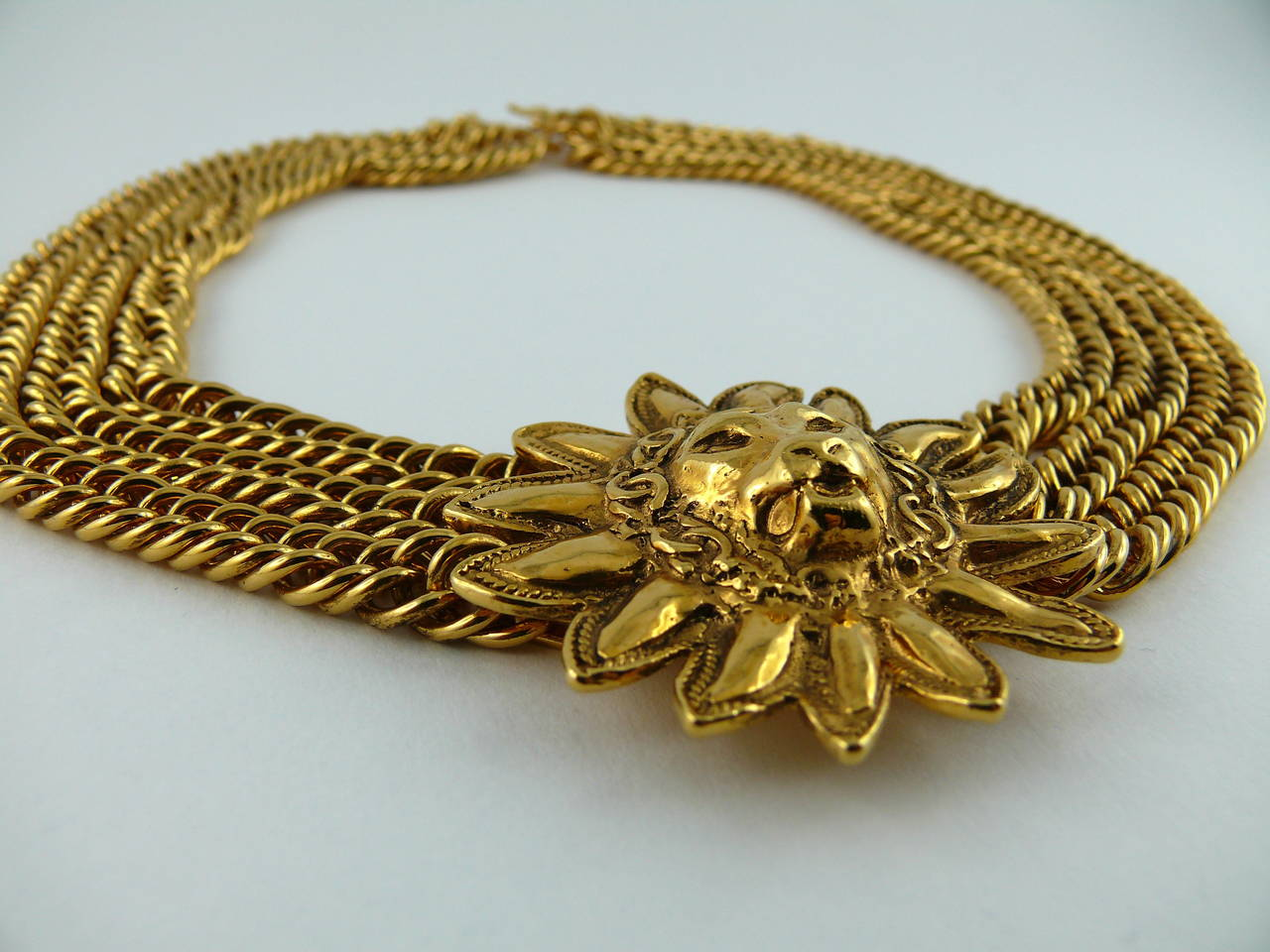 Chanel Vintage Gold Plated Leo Choker Necklace 4