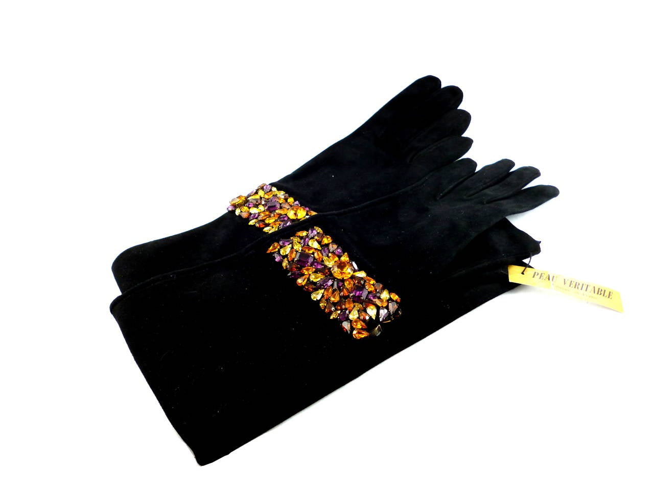 Isabel Canovas Rare Bejeweled Suede Opera Gloves 2