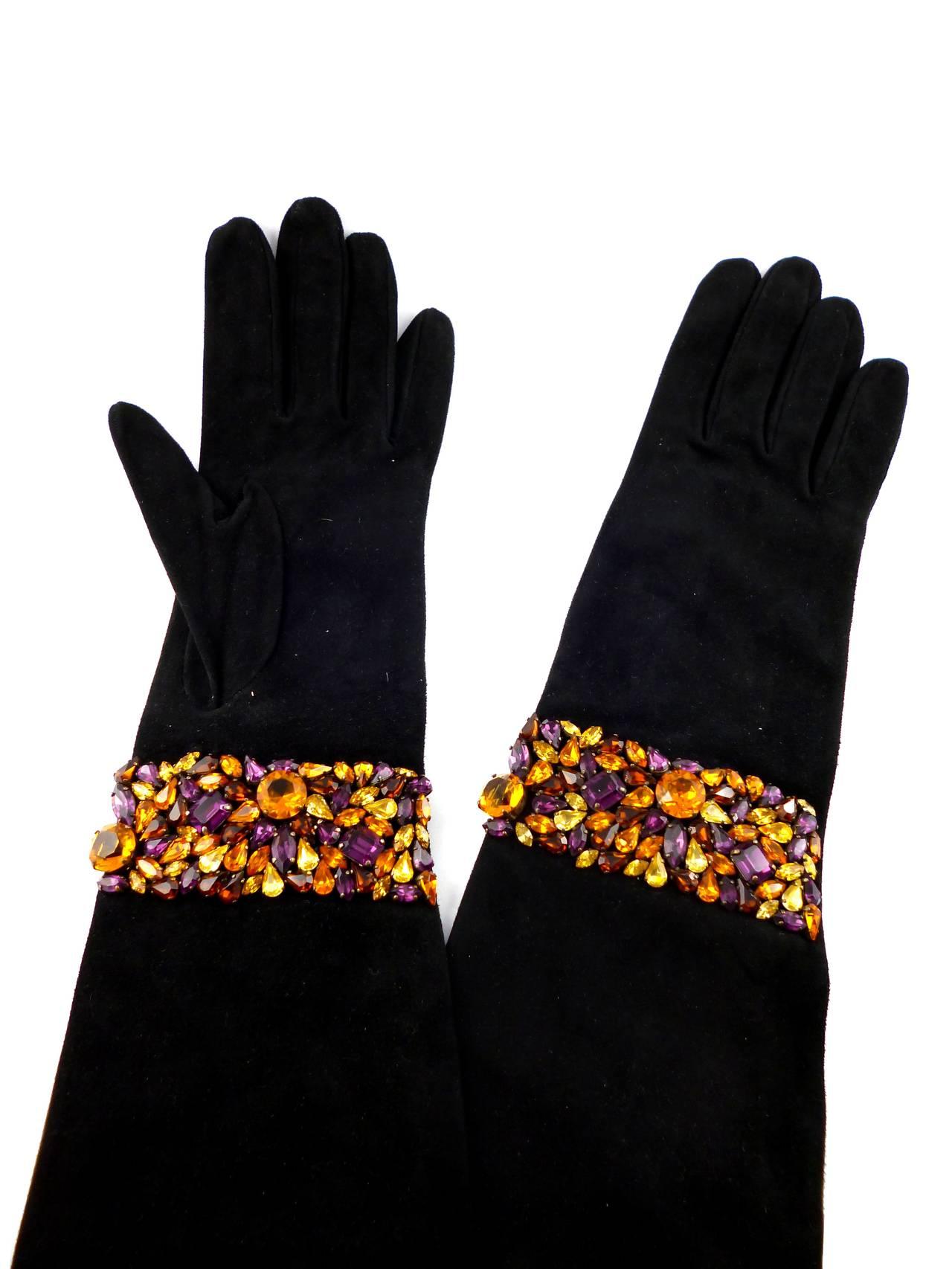Isabel Canovas Rare Bejeweled Suede Opera Gloves 4