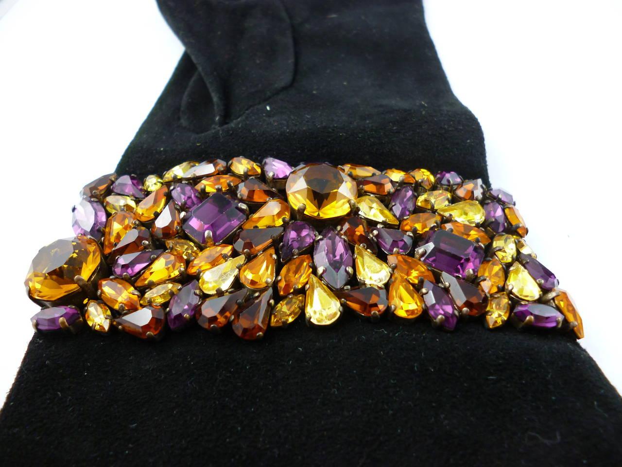 Isabel Canovas Rare Bejeweled Suede Opera Gloves 5