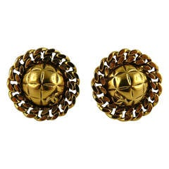 Chanel Classic Vintage Quilted & Chain Clip-On Earrings