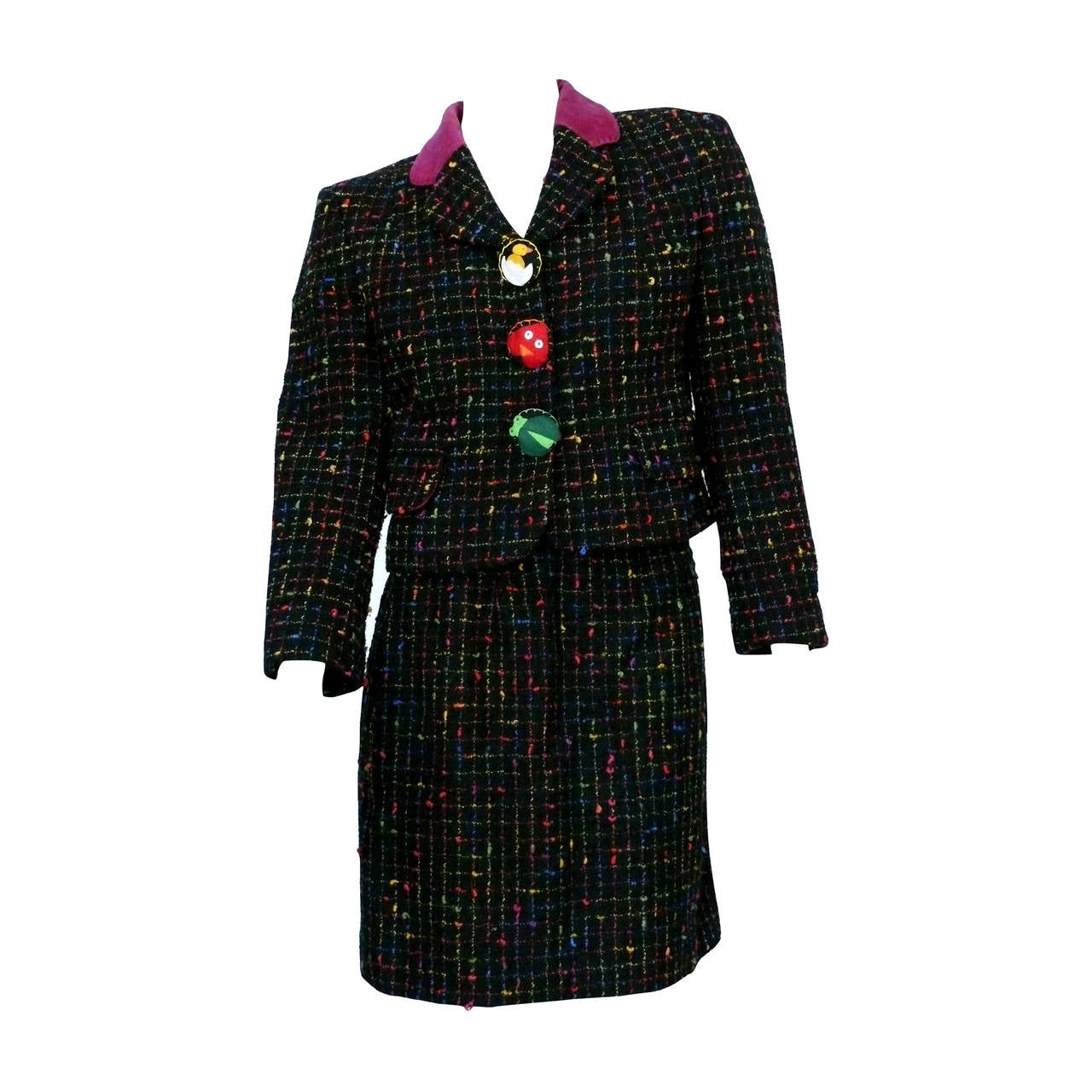 770760185d Moschino Vintage Multicolored Tweed Suit