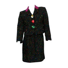 "Moschino Vintage Multicolored Tweed Suit ""Push For Nature"""