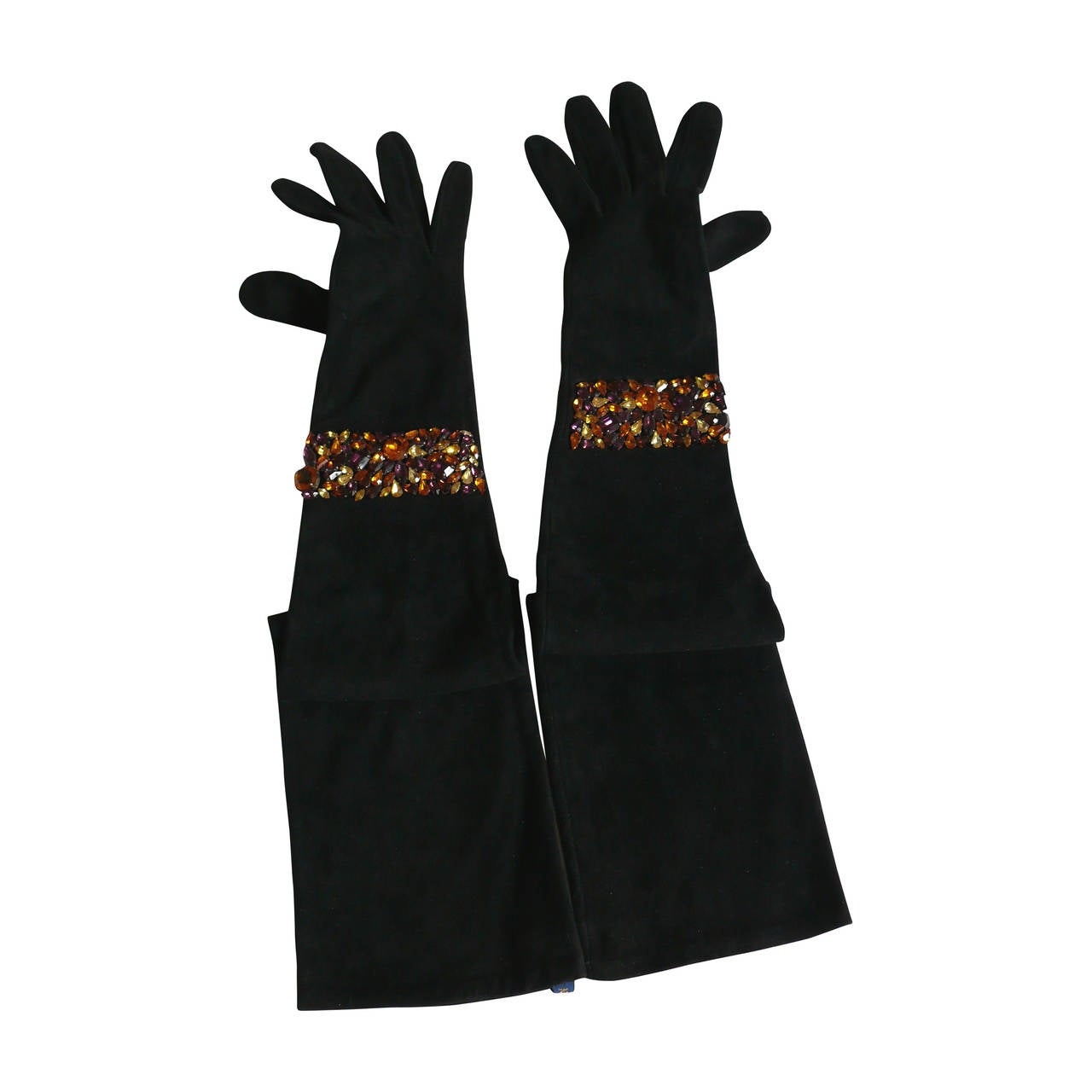 Isabel Canovas Rare Bejeweled Suede Opera Gloves
