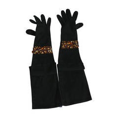 Isabel Canovas Bejeweled Suede Opera Gloves