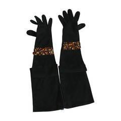 Isabel Canovas Rare Bejeweled Suede Opera Gloves