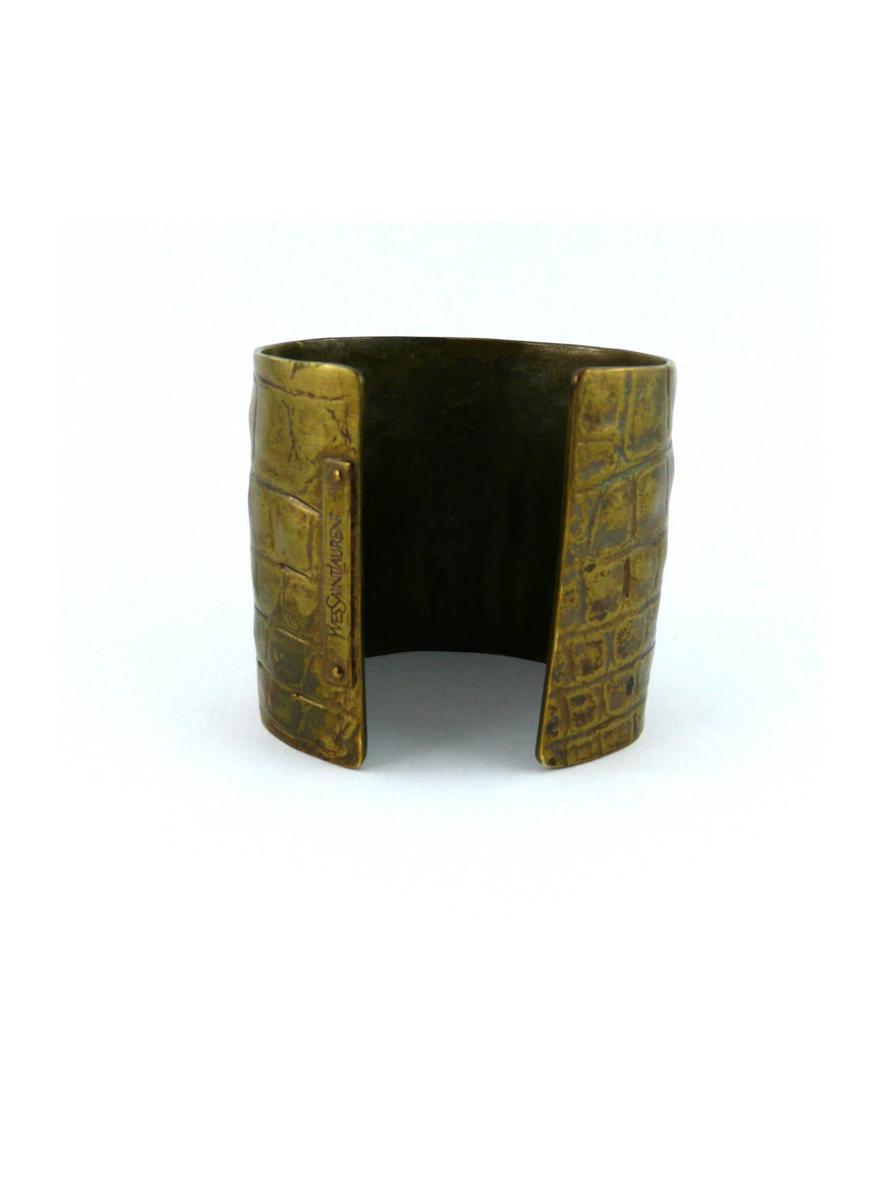 Yves Saint Laurent YSL by Tom Ford Croc-Embossed Cuff Bracelet For Sale 4