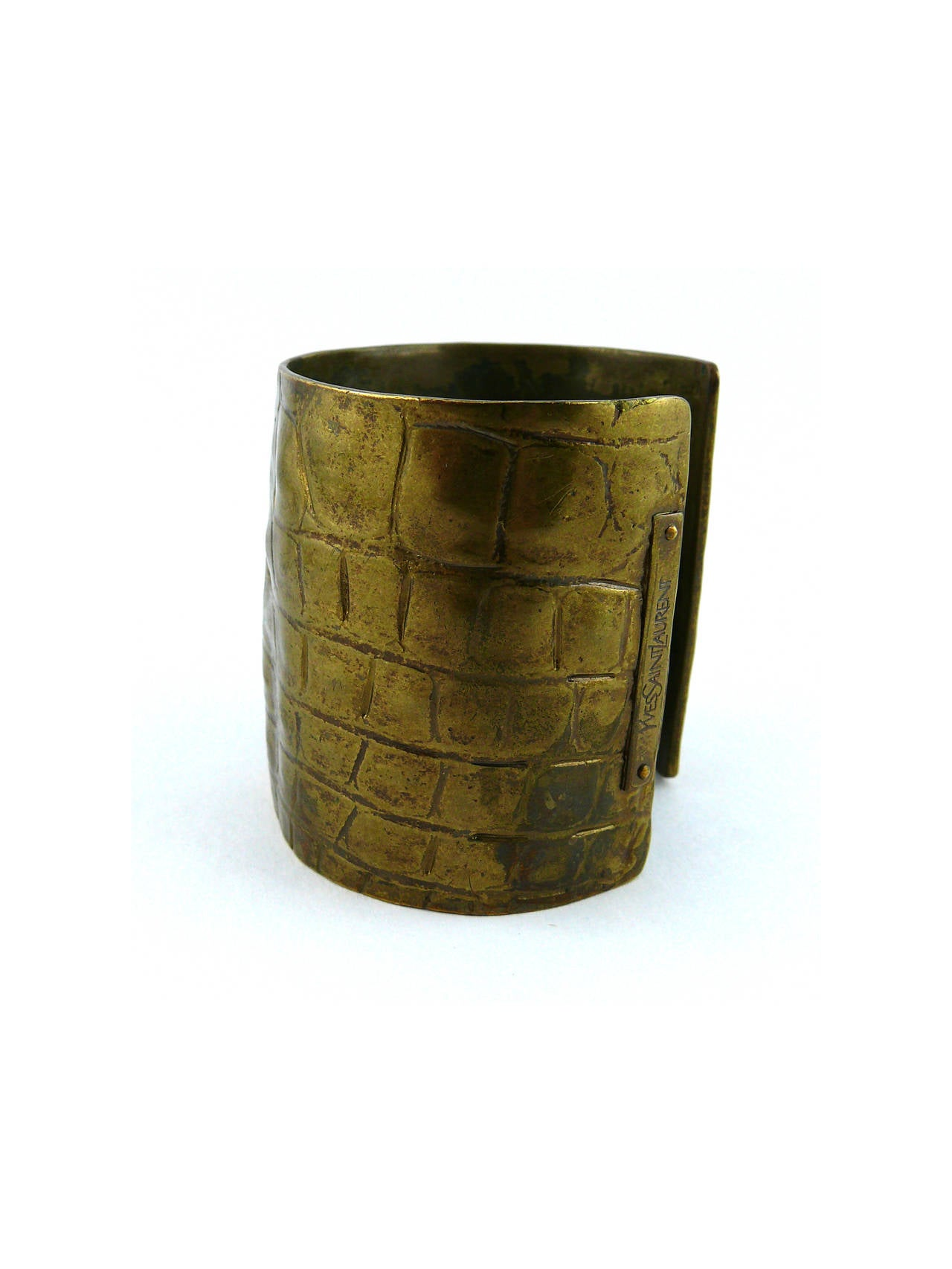 Yves Saint Laurent YSL by Tom Ford Croc-Embossed Cuff Bracelet For Sale 1