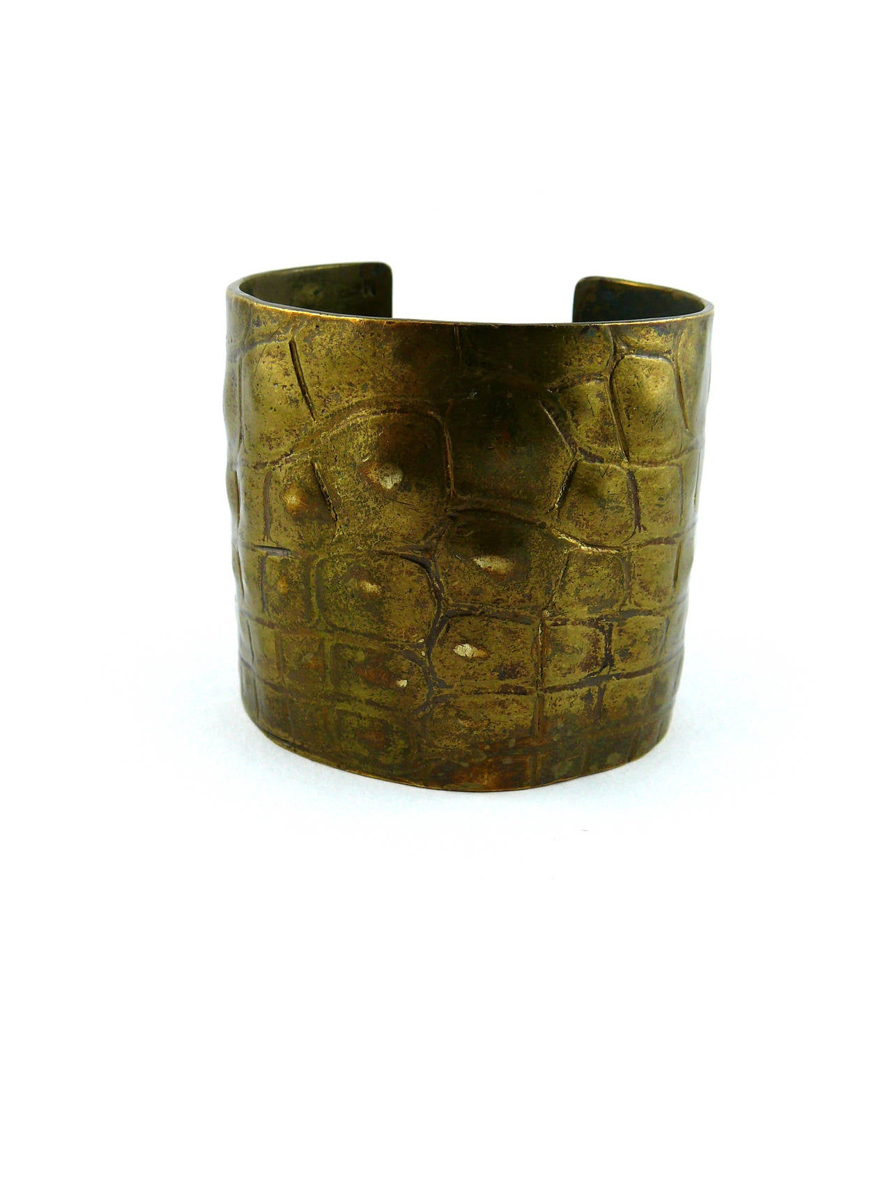 Women's Yves Saint Laurent YSL by Tom Ford Croc-Embossed Cuff Bracelet For Sale