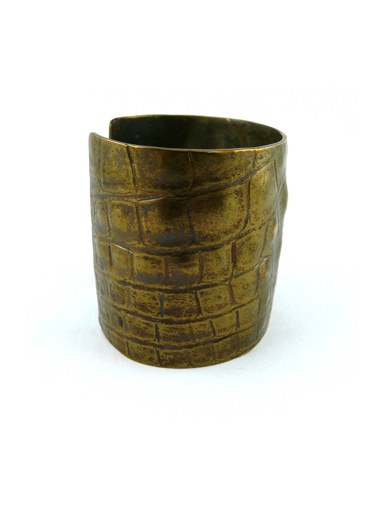 Yves Saint Laurent YSL by Tom Ford Croc-Embossed Cuff Bracelet In Excellent Condition For Sale In French Riviera, Cote d'Azur