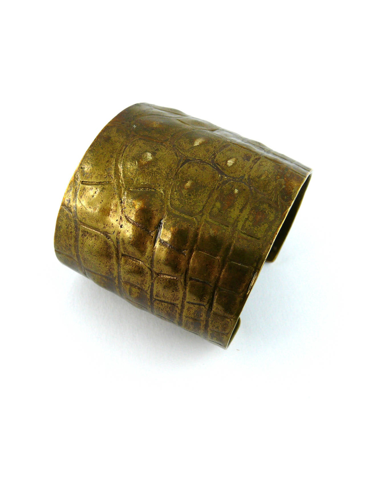Yves Saint Laurent YSL by Tom Ford Croc-Embossed Cuff Bracelet For Sale 2