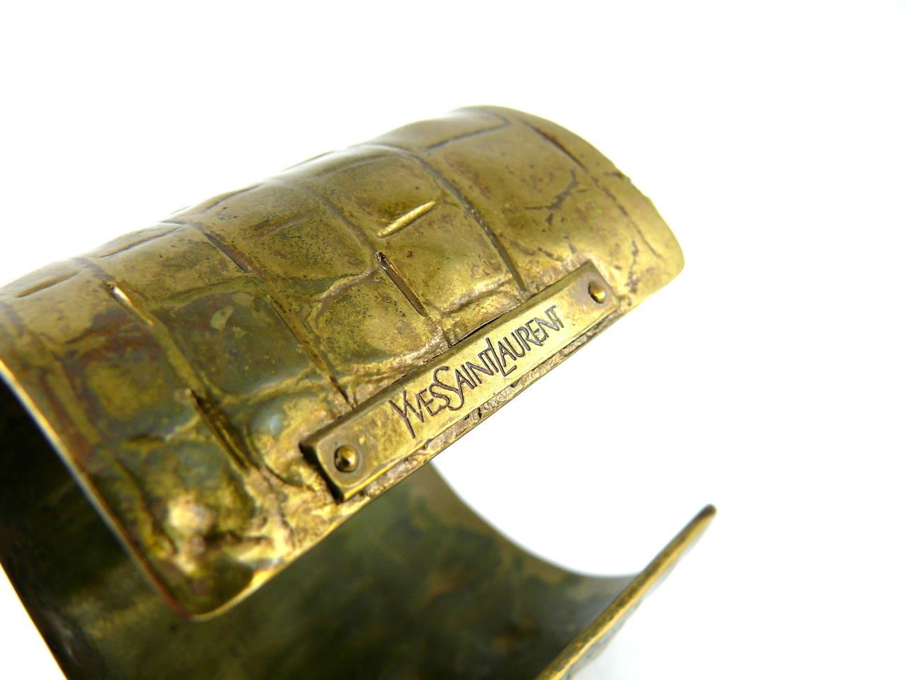 Yves Saint Laurent YSL by Tom Ford Croc-Embossed Cuff Bracelet 9