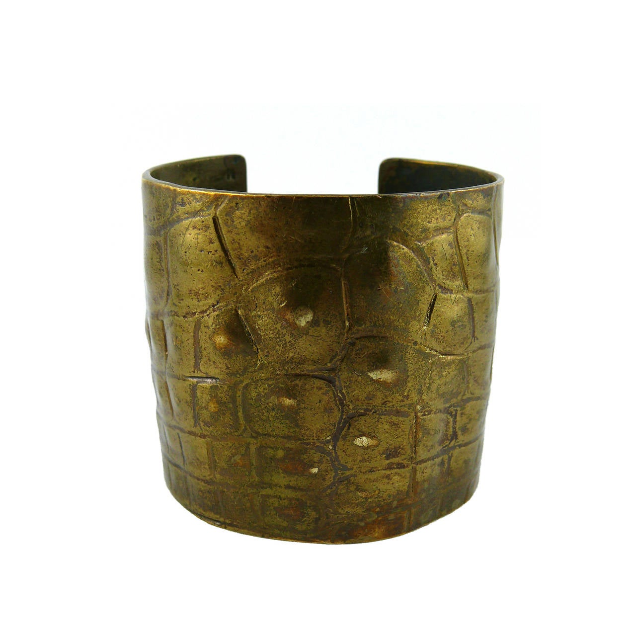 Yves Saint Laurent YSL by Tom Ford Croc-Embossed Cuff Bracelet For Sale