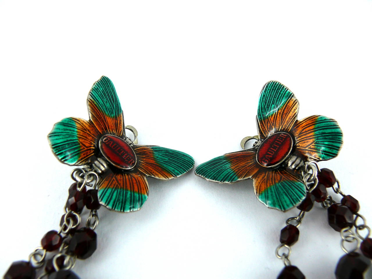 Women's Jean Paul Gaultier Vintage Enamel Butterfly Dangling Earrings For Sale