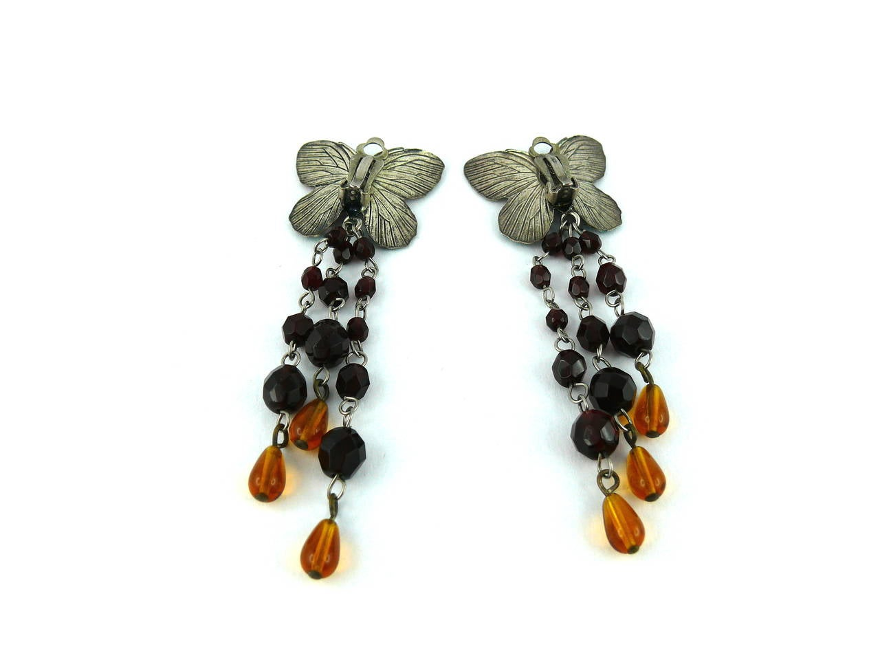 Jean Paul Gaultier Vintage Enamel Butterfly Dangling Earrings For Sale 2