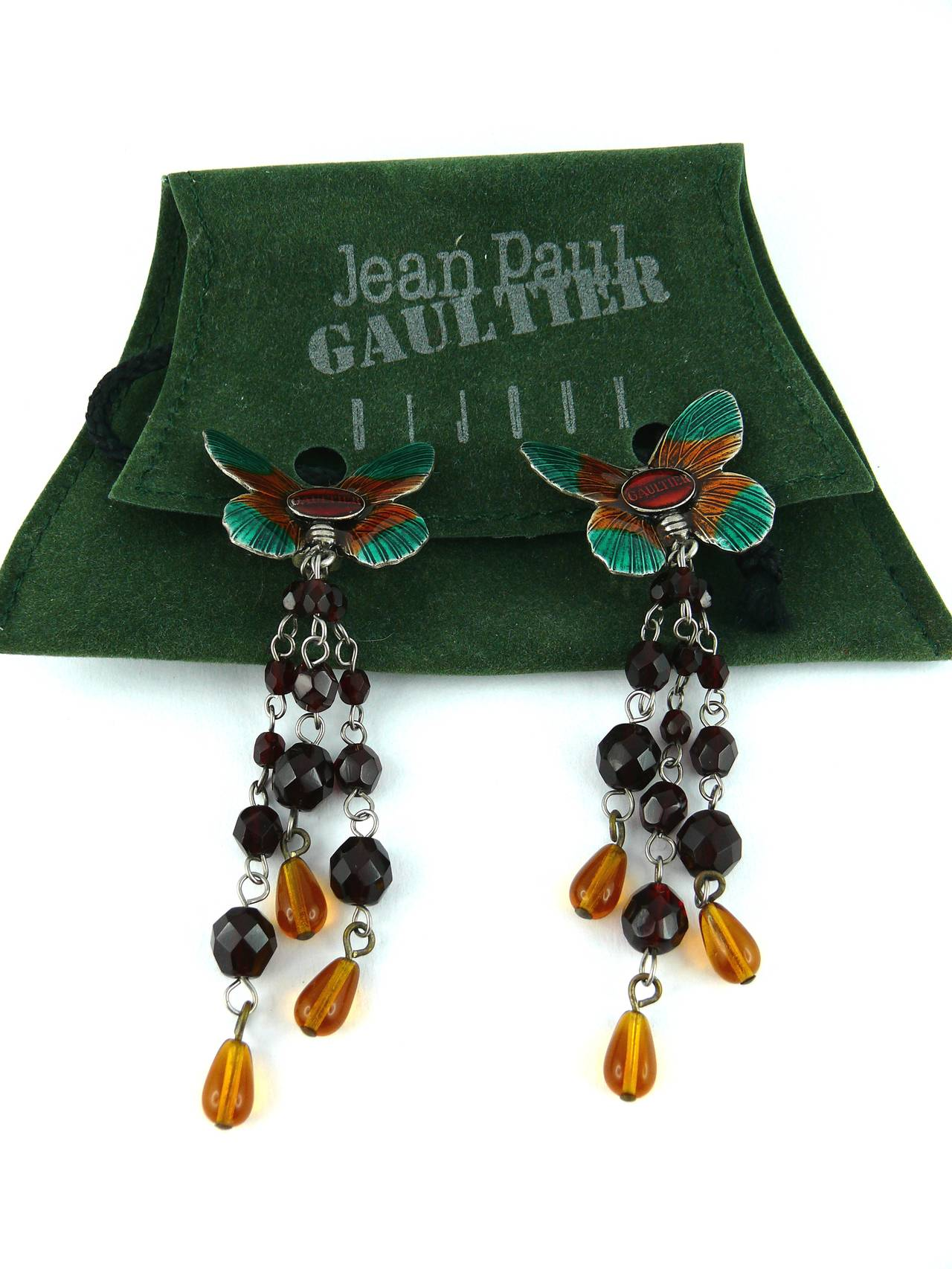 JEAN PAUL GAULTIER stunning vintage enamel butterfly dangling earrings (clip-on) with glass bead embellishment.